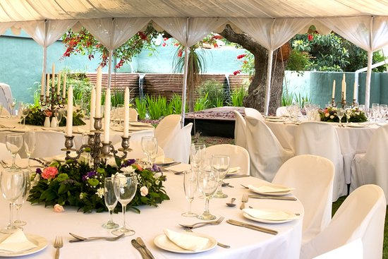 The Historic Pig and Whistle Restaurant: Marquee next to the pool and stage in the garden, Ideal for a Wedding or other function