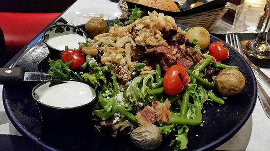 Food For Thought : Salad with Thinly Sliced Filet Mignon, Potatoes, Green Beans, Mixed Greens, Blue Cheese and Baco