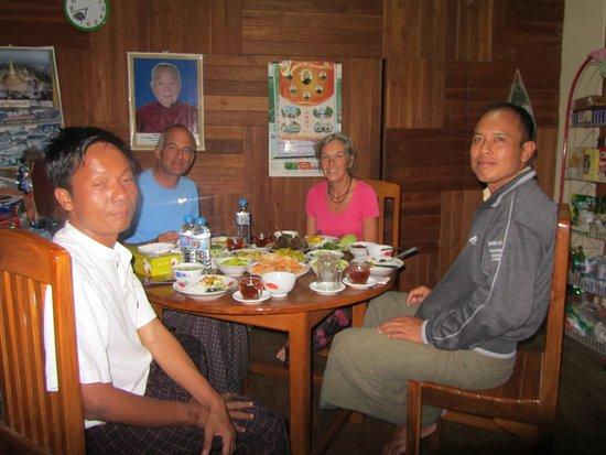 Rakhine State, Myanmar: Aung Min, teacher Moe, Alan and Anneke at the monastery