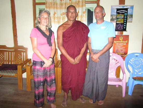 Rakhine State, Myanmar: Anneke and Alan with the head-monk