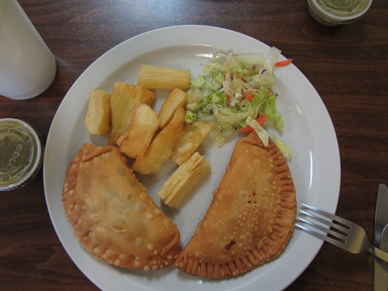 Valdosta, GA: Empanadas, chicken and beef, with fried yucca (dipping sauce to the side) and salad