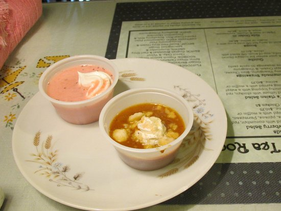 Morris, IL: Cold strawberry and cold pumpkin pie soup -- very good.