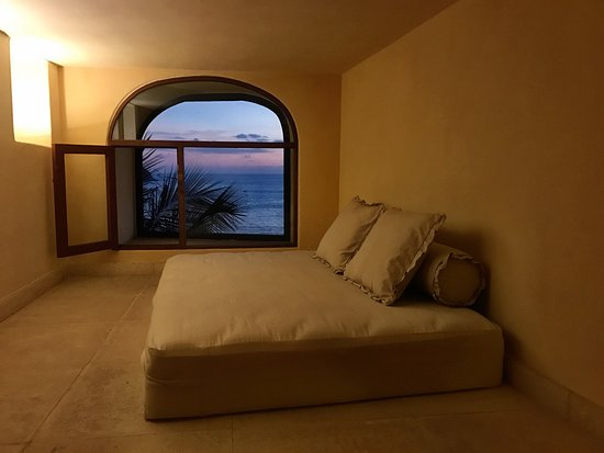 Villa Guadalupe Hotel: Room view - there also is a full bed in another area. Photo by John Hershey