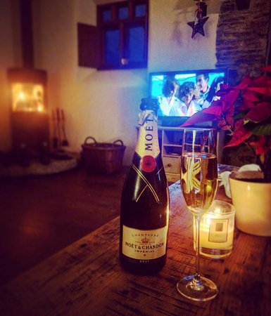 Lifton, UK: Beautiful log fire and a glass of bubbly in the evenings