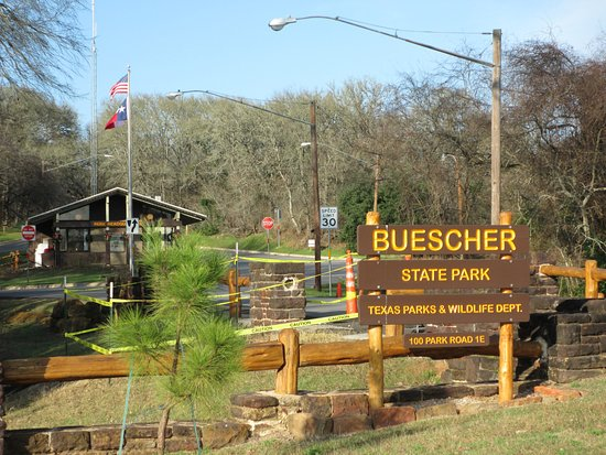 Buescher State Park entrance just off TX Hwy. 71 near Smithville, Tx.