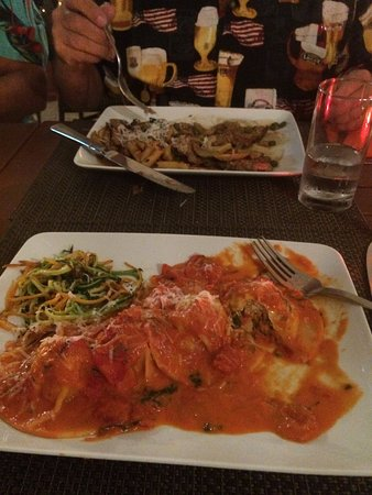 Piazza Pascal: Husband had the Veal Picatta and I had the special Lobster & crab ravioli in vodka sauce