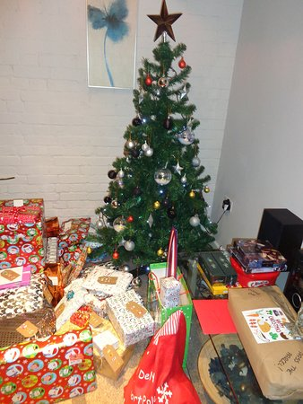 Swilland, UK: christmas tree set up by owners for us