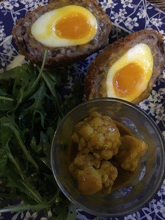 East Horsley, UK: Scotch egg and piccalilli