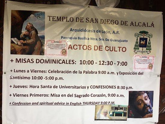 Church of San Diego (Iglesia de San Diego) : Horarios de misa