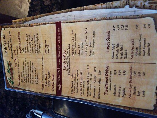 Farmington Hills, MI: Lunch and regular menu