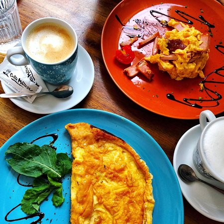 Coffee and eggs breakfast