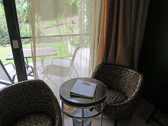 The Haven and Spa: table and chairs inside in case of rain