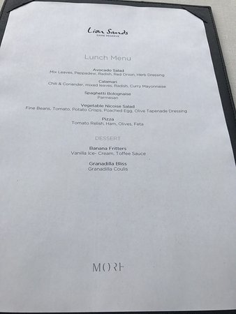 Lion Sands River Lodge: Food menus for breakfast, lunch and dinner