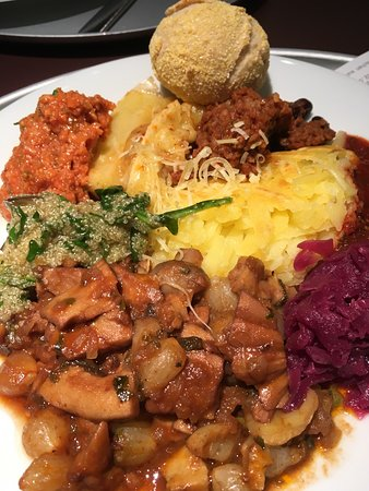 Food is good, great choice for veggies and vegans, it's a weigh and pay place at CHF 4.20 per 100g. Cheaper than many other places <br/><br/>It's located within the station on the 2nd floor opens at 6.30am up to 10.00pm. Try the Seitan stroganoff it's very very good and the rosti is good too. <br/><br/>I loved it so much I went twice as its really difficult to find good vegetarian options in standard restaurants in Switzerland.