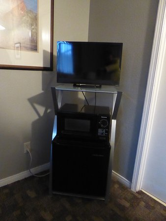 Baby Quail Inn: Tv and fridge