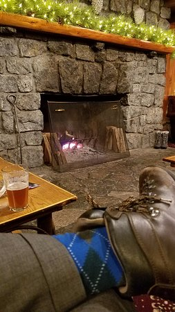 North River, NY: The Garnet in Stone Fireplace of the Log House