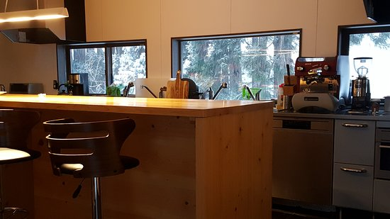 Kitchen with commercial grade coffee machine - bring the beans ...