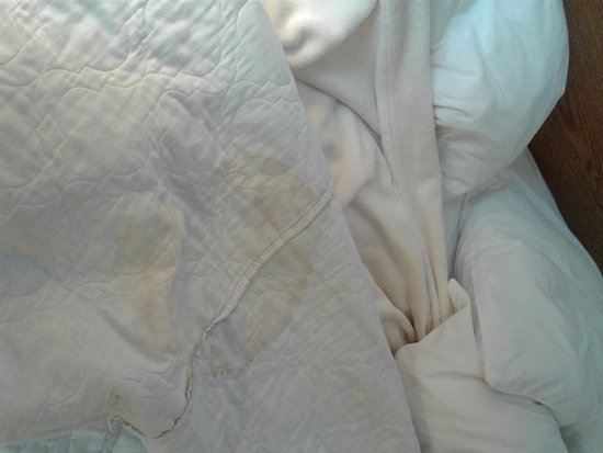 High Prairie, Canada: stained bed spread