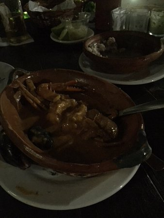El Pescado Ciego: Seafood bisque- whole small crab along with chunks of seafood