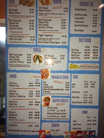 Bellflower, Californie : Menu