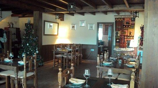 Villanueva de Tapia, إسبانيا: vue sur la salle à manger et le sapin
