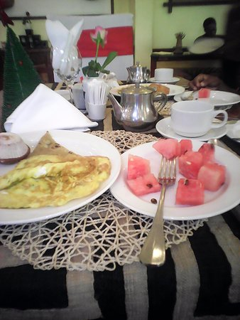 The African Tulip: The breakfast on a table