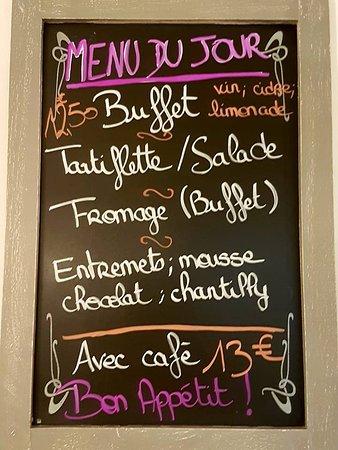 Ferce-sur-Sarthe, France: un exemple de notre menu du jour (la semaine)