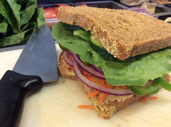 Greenland, NH: Me & Ollie's vegetarian lunch option with our freshly baked bread