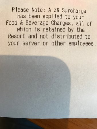 Del Mar, CA: Hidden fee on all food and drink charges!  Totally offensive move.
