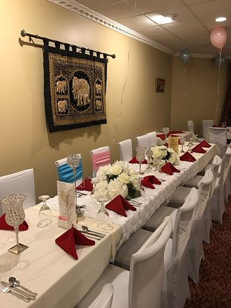 Party room decorated for baby shower party and wedding reception ...