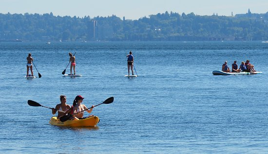 Stand Up Paddle (SUP) Boarding, kayaking and 8 Person SUP at Juanita Beach Park in Kirkland.