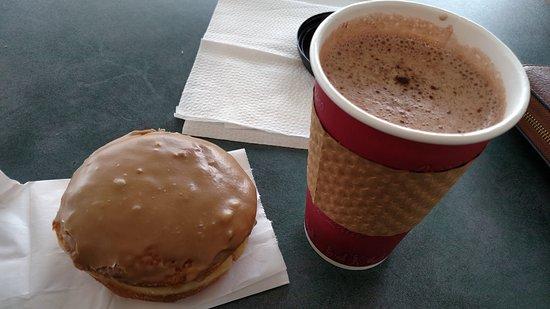Ukiah, CA: Raspberry-filled maple donut and hot cocoa.