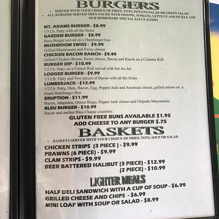 Randle, WA: Lunch menu