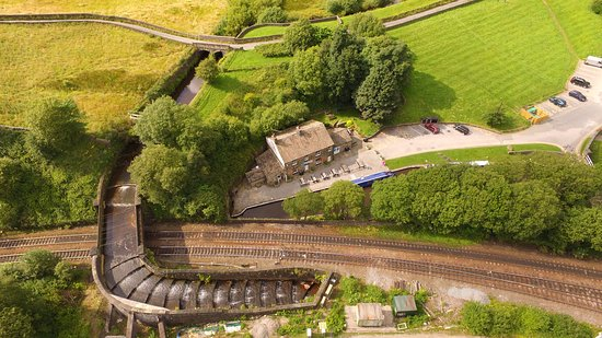 Marsden, UK: Drone photo of tunnel end