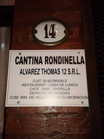 Cantina Rondinella- Postres: Cartel Ingreso- Bs.As. 2016.