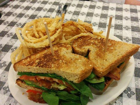 Slinger, WI: BLT on nine-grain toast with onion strings