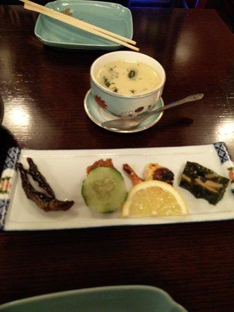 Yoshitsune Restaurant: Custard and finger appetizer