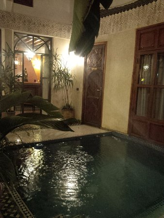 Riad de la Belle Epoque: view of open courtyard pool from just within our room