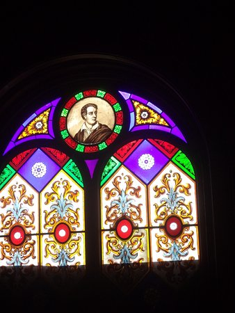 Hay House : Lord Byron window - upper portion. The bottom portion was damaged in a recent storm. Beautiful