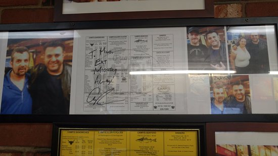 Campi's: They have plenty of pictures from the visit from Adam Richman (Man vs. Food)