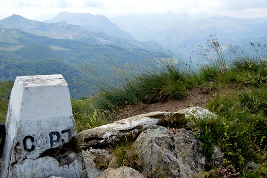 Plav, Montenegro: Old Yugoslav border stone, with Albania in the background...