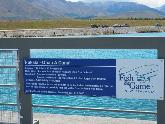 Twizel, New Zealand: Canal での釣りの規則
