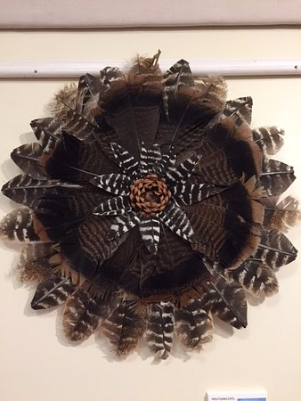 Kittery, ME: All natural local turkey feather wreath with a pinecone center