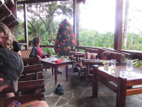 Aguila de Osa Inn: kids relaxing on the veranda