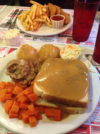 St. Stephen, Canada: hot turkey sandwich with stuffing (chicken strips in the back)