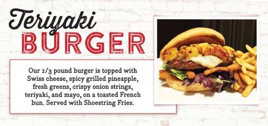 Smoky Mountain Pizzeria Grill: Try our famous Teriyaki Burger!
