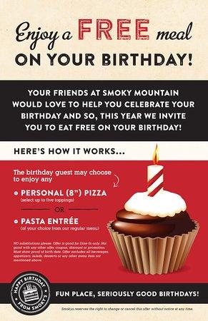 Smoky Mountain Pizzeria Grill: Enjoy a FREE meal on your birthday!