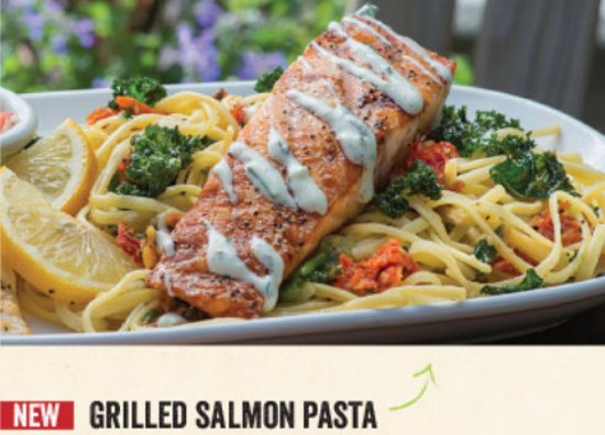 Ketchum, ID: In the mood for seafood? Try our delicious Grilled Salmn Pasta!
