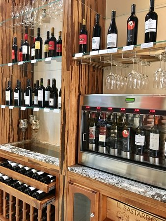 Several wines available to taste before you buy a bottle to take home
