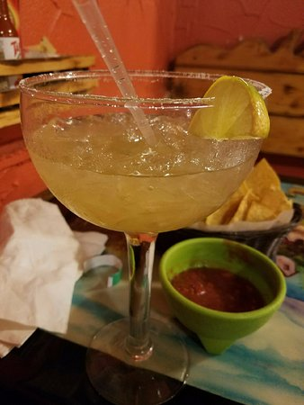 Saint Peters, MO: Margarita with chips and salsa in the background